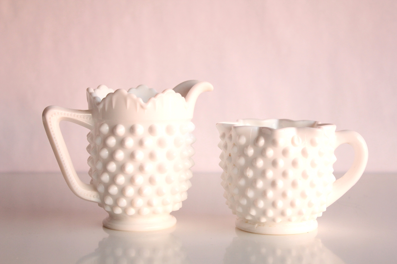 Milk Glass Hobnail Creamer + Sugar Set