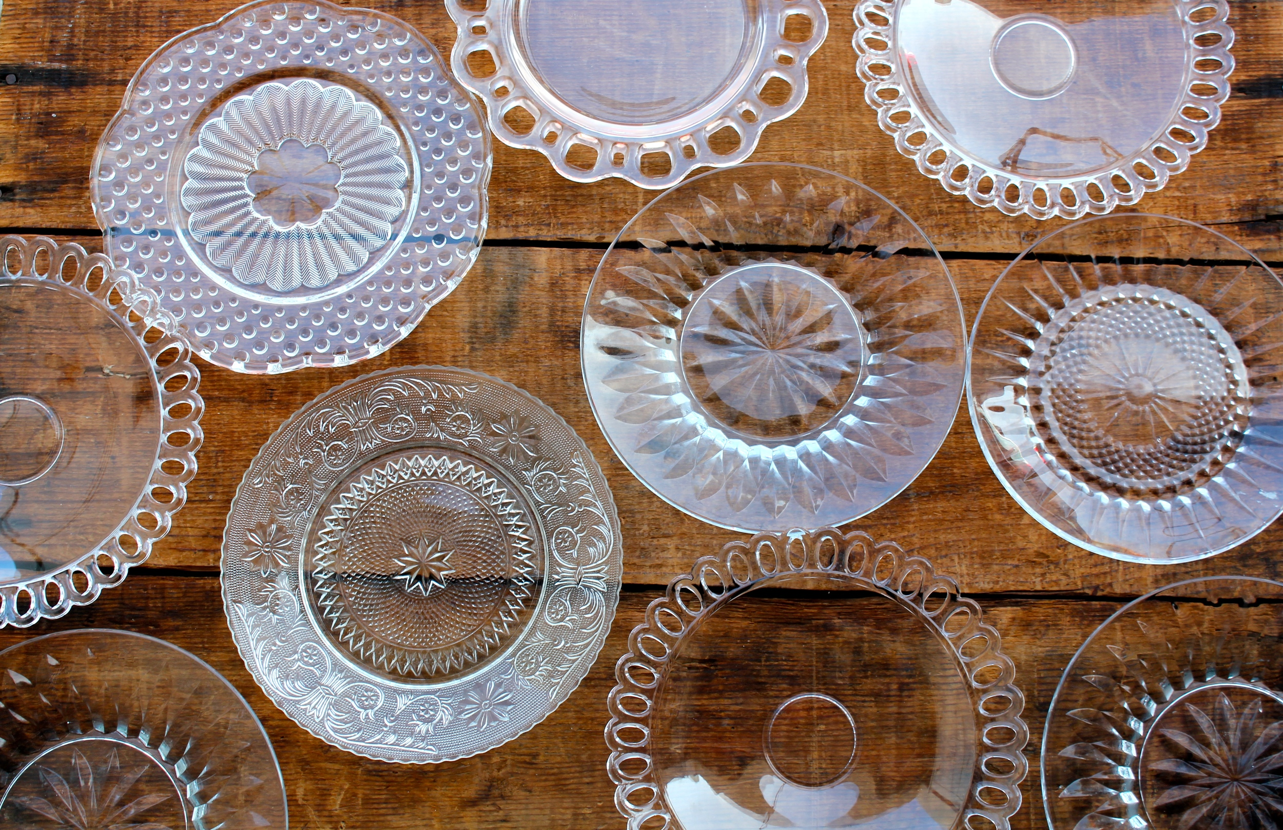 Vintage Cut Glass Dessert Plates