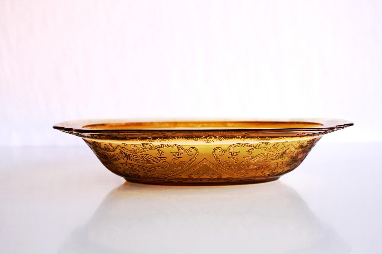 Yellow Depression Glass Serving Bowl