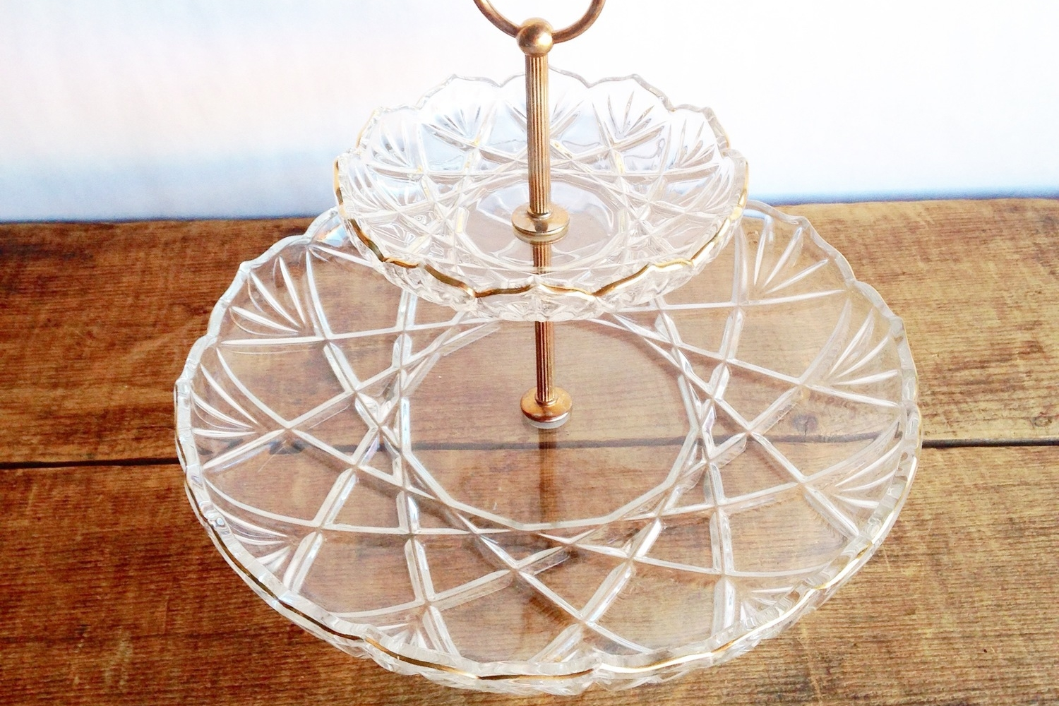 Etched Glass Tiered Serving Tray