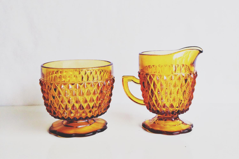 Amber Glass Creamer + Sugar