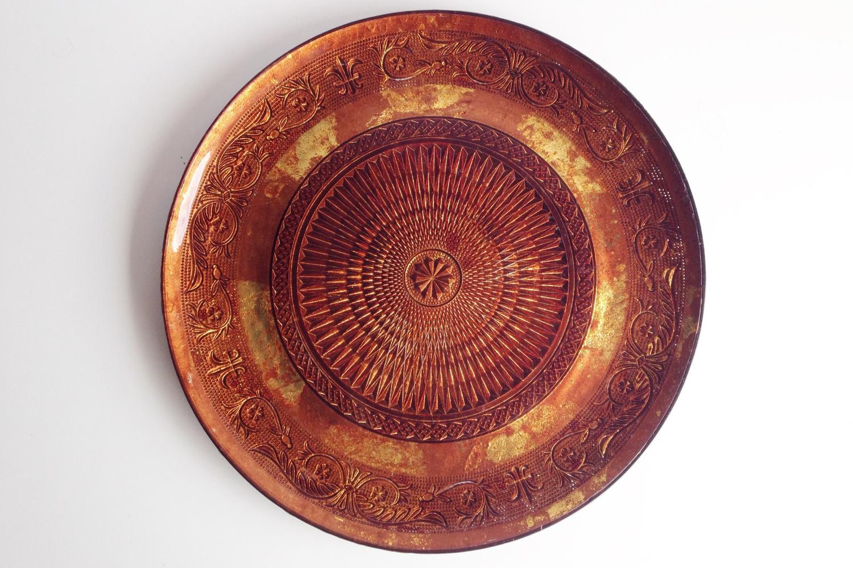 Vintage Bronze Glass Platter