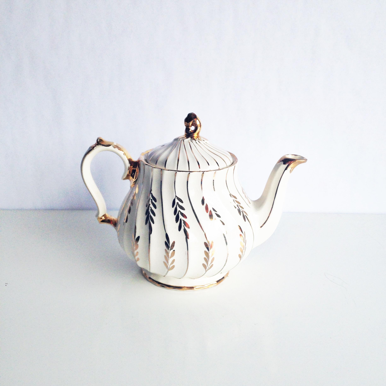 White + Gold Teapot