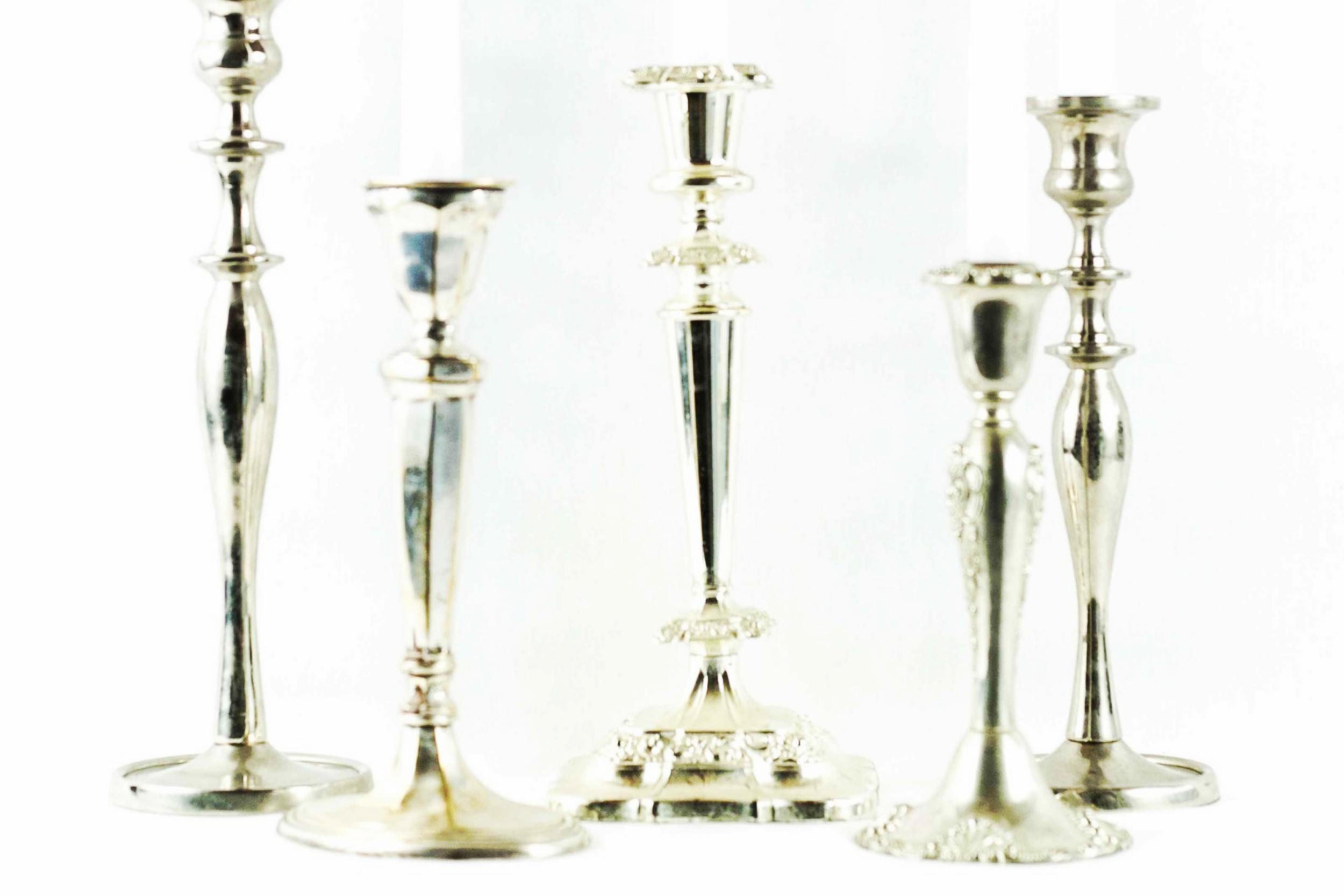 Tall Silver Candlesticks