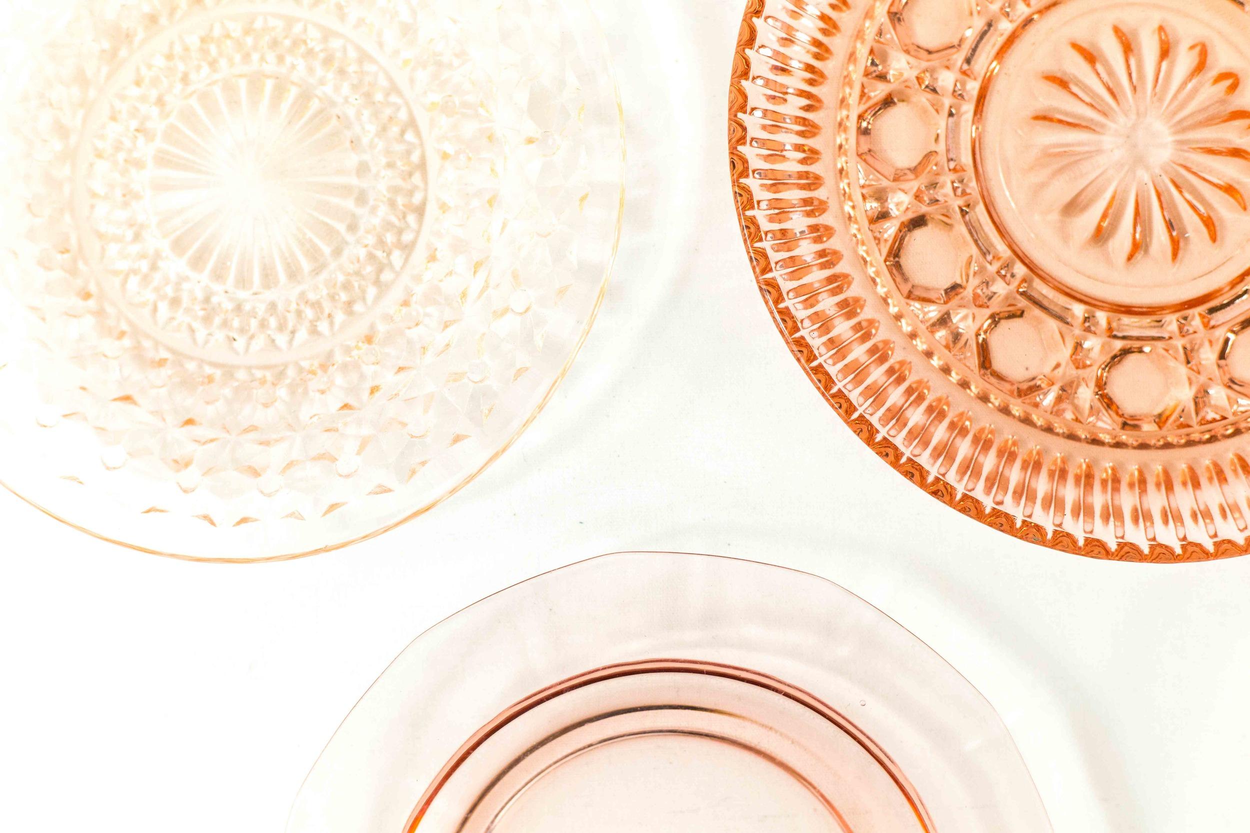 Pink Glass Dessert Plates