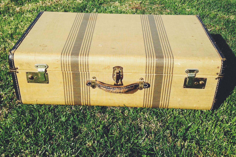 Vintage Tan and Brown Suitcase
