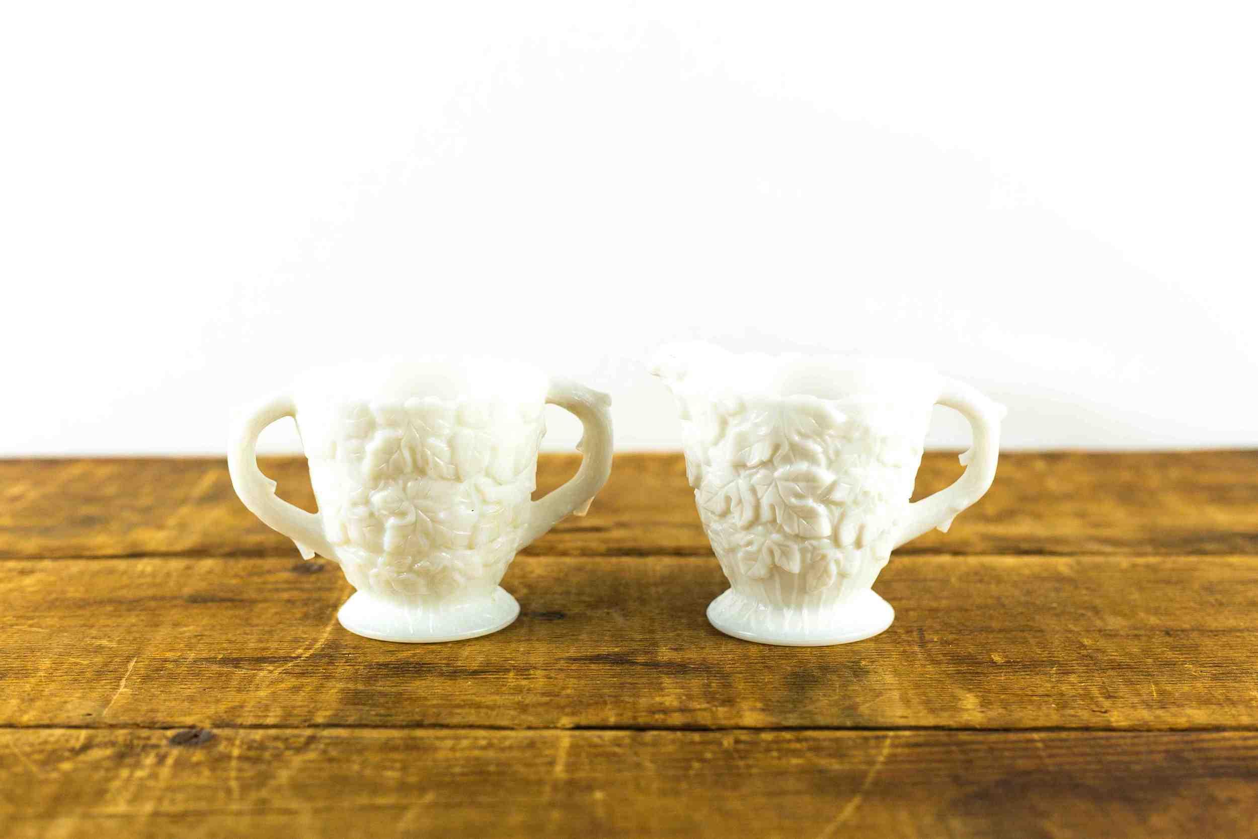 Milk Glass Leaf Patterned Creamer + Sugar Set
