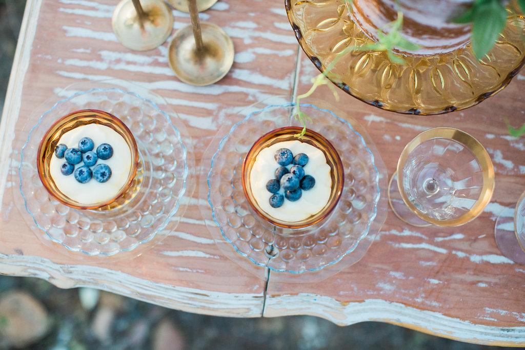 Blue Bubble Glass Dessert Plates