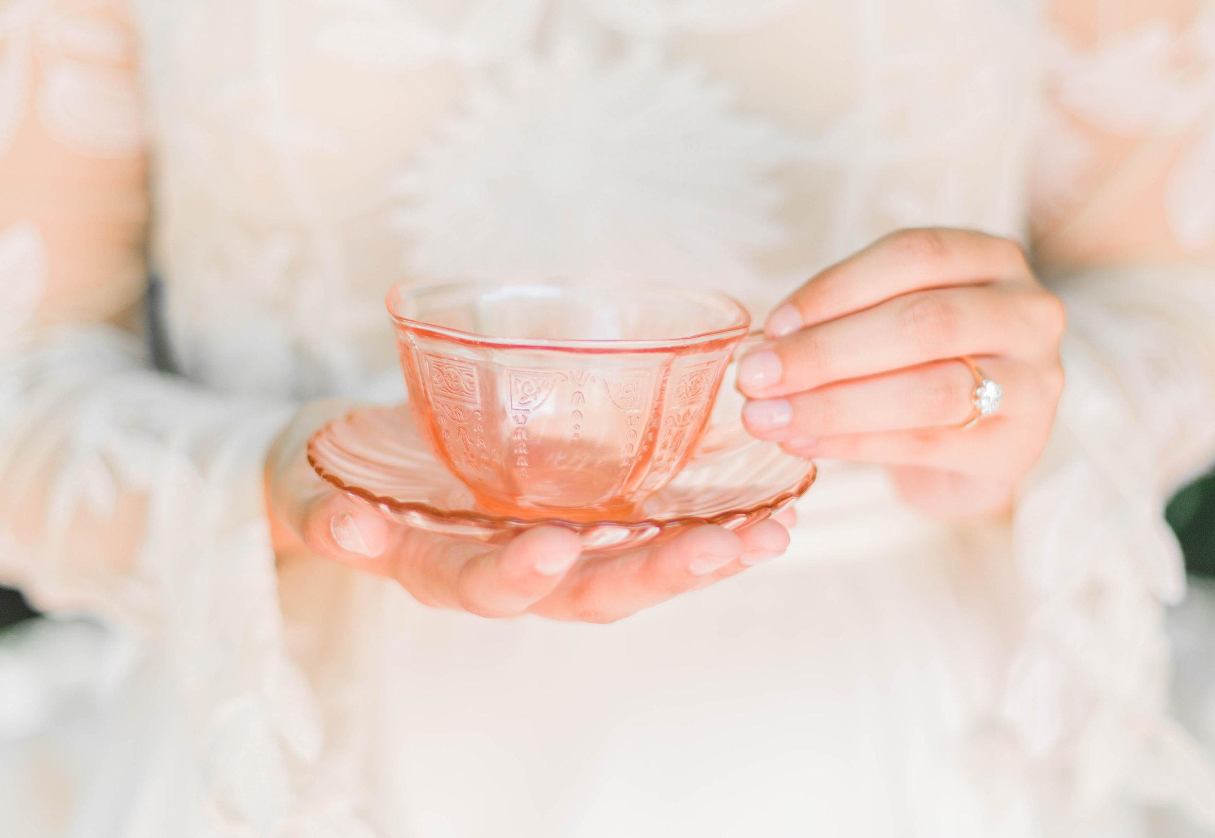 Pink Glass Teacup + Saucer