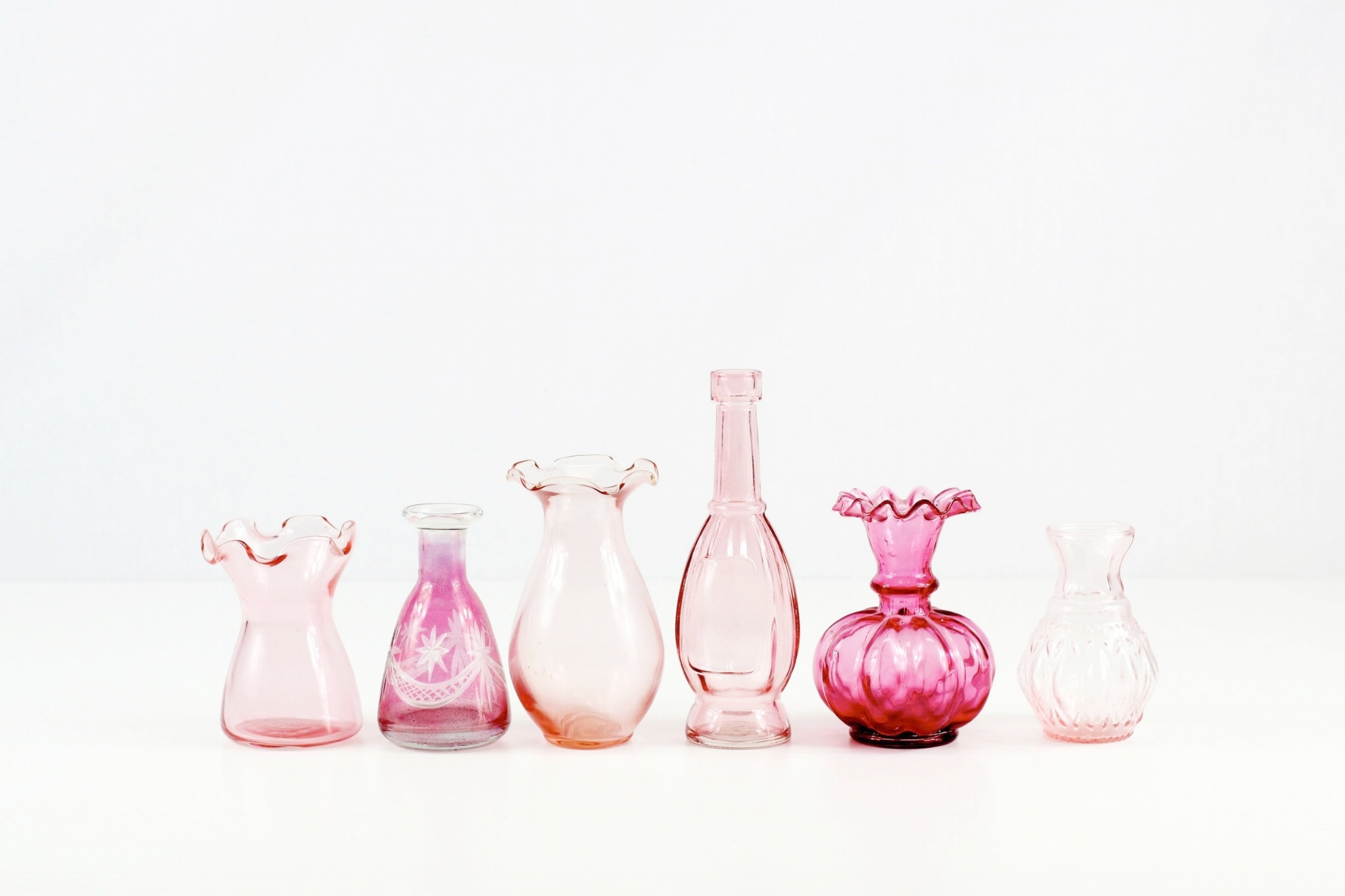 Small Pink Glass Vases