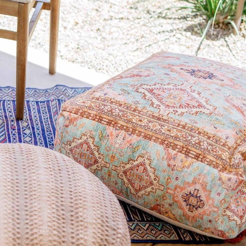 Blue Moroccan Paisley Pouf