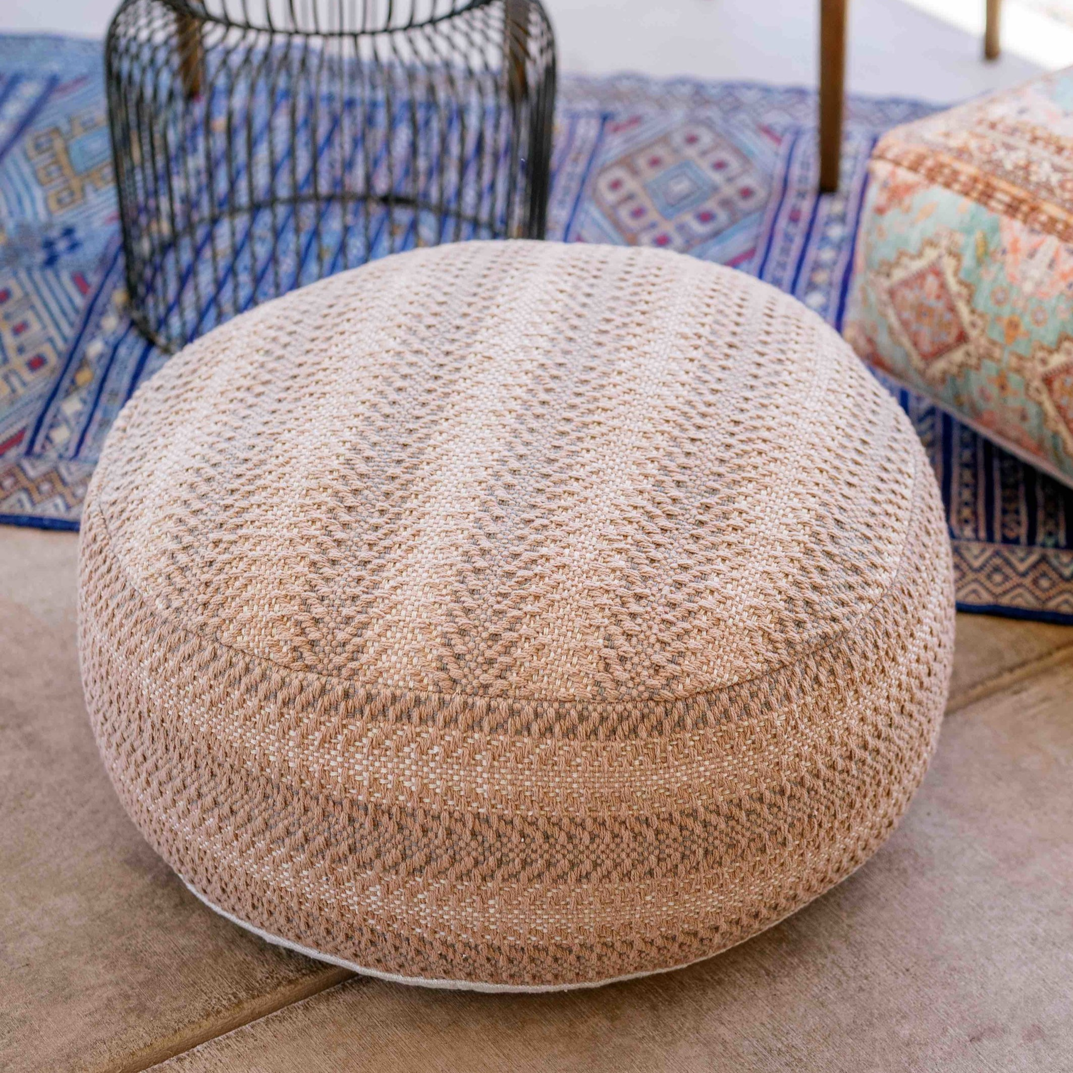 Woven Textured Pouf