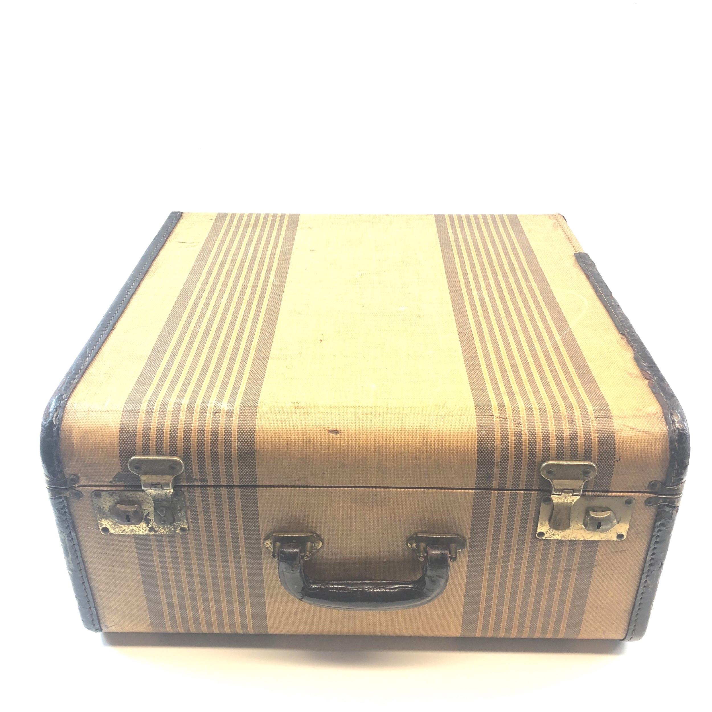 Vintage Tan Square Suitcase