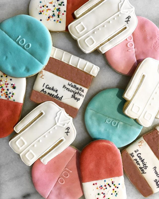 Happy 24th birthday to my parent's second baby, the Walhalla Prescription Shop! If you're in town, make sure to stop in, say congrats, and try one of these awesome cookies I sent them. (Don't worry, I didn't make them so they should be edible 😉) We'll see you soon at the Walhalla Prescription Shop, where you're only a stranger... once! 💊💉⚖️