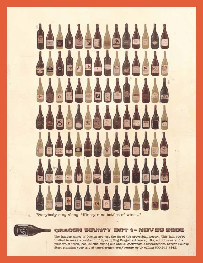 """""""99 Bottles of Wine on the Wall,"""" Oregon Bounty campaign art"""