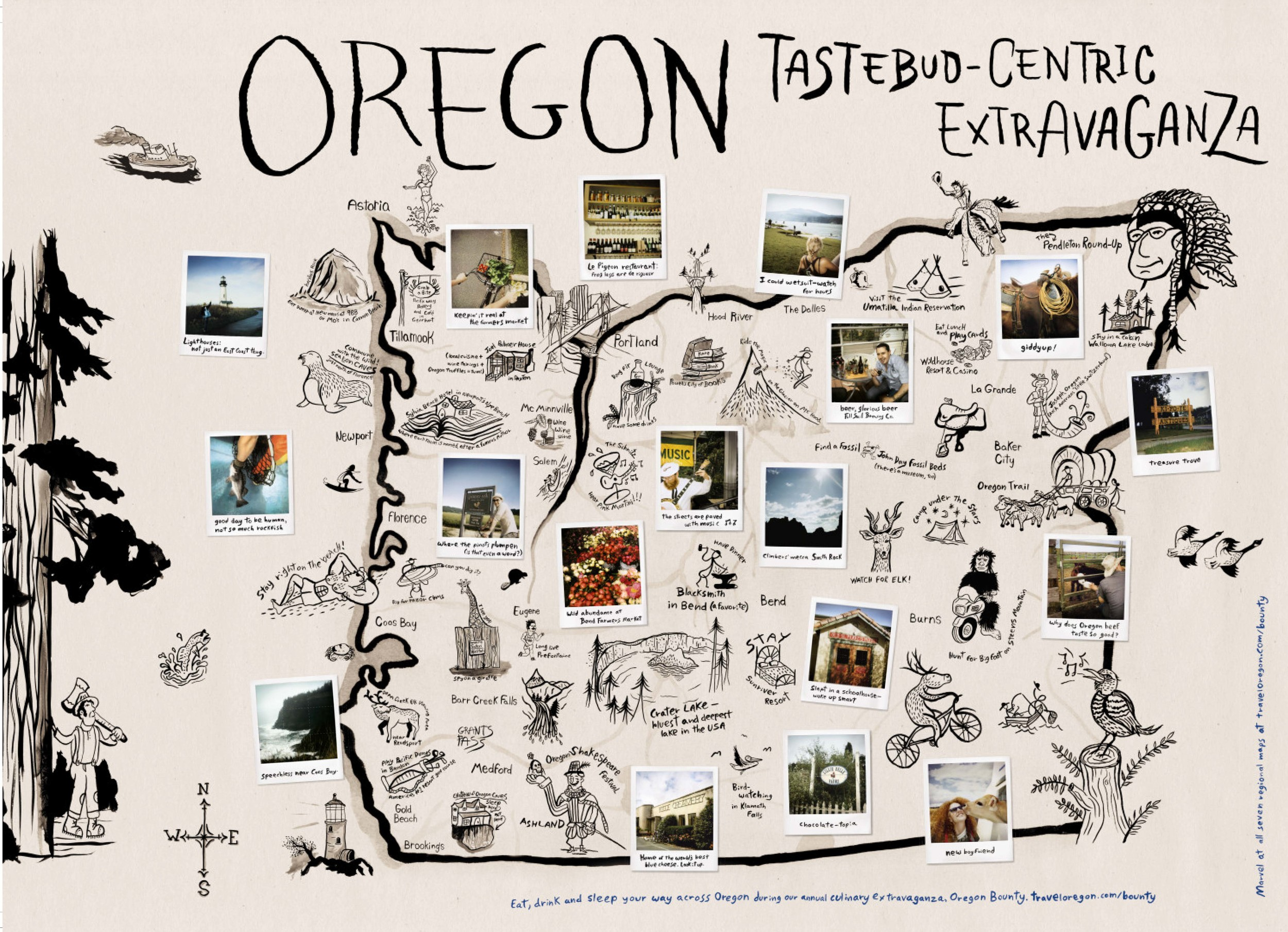 Not your average visitor map, but definitely more inspiring. Oregon Bounty large scale maps, folded and placed in indie book stores, coffee and wine shops.