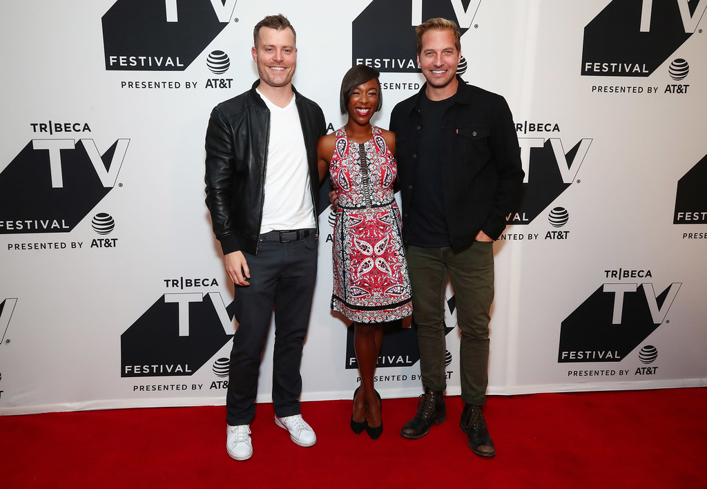 Rawson Marshall Thurber, Samira Wiley and Ryan Hansen attend the Tribeca TV Festival series premiere of Ryan Hansen Solves Crimes on Television at Cinepolis Chelsea on September 23, 2017 in New York City. (Photo .jpg