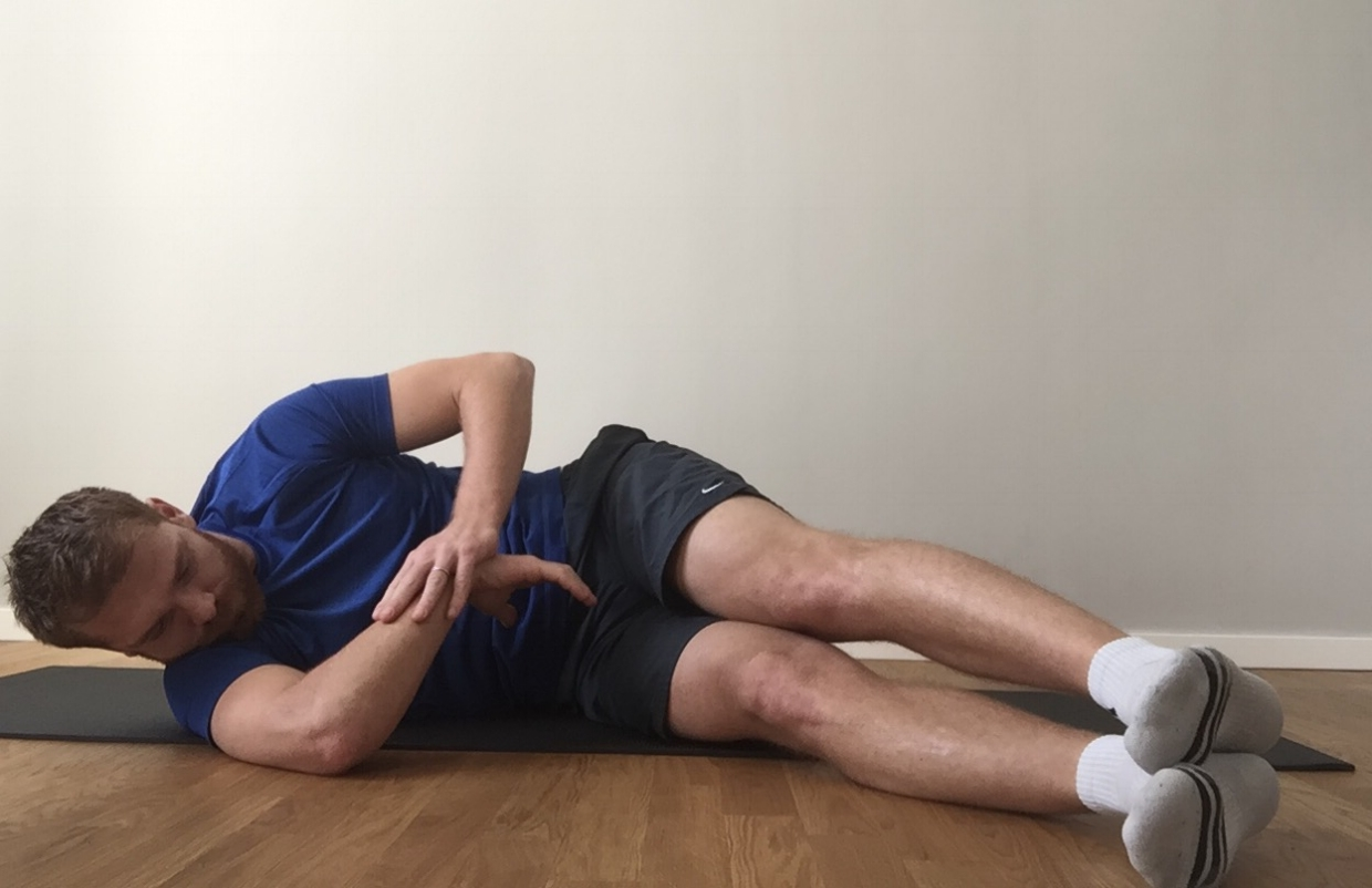 Step 1 - Passive Internal Rotation Stretch (hold for 2min)