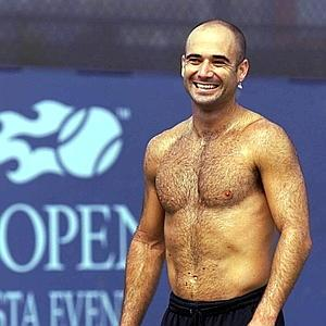 As you can see, Agassi was quite lean but did have a 'well-developed' chest.