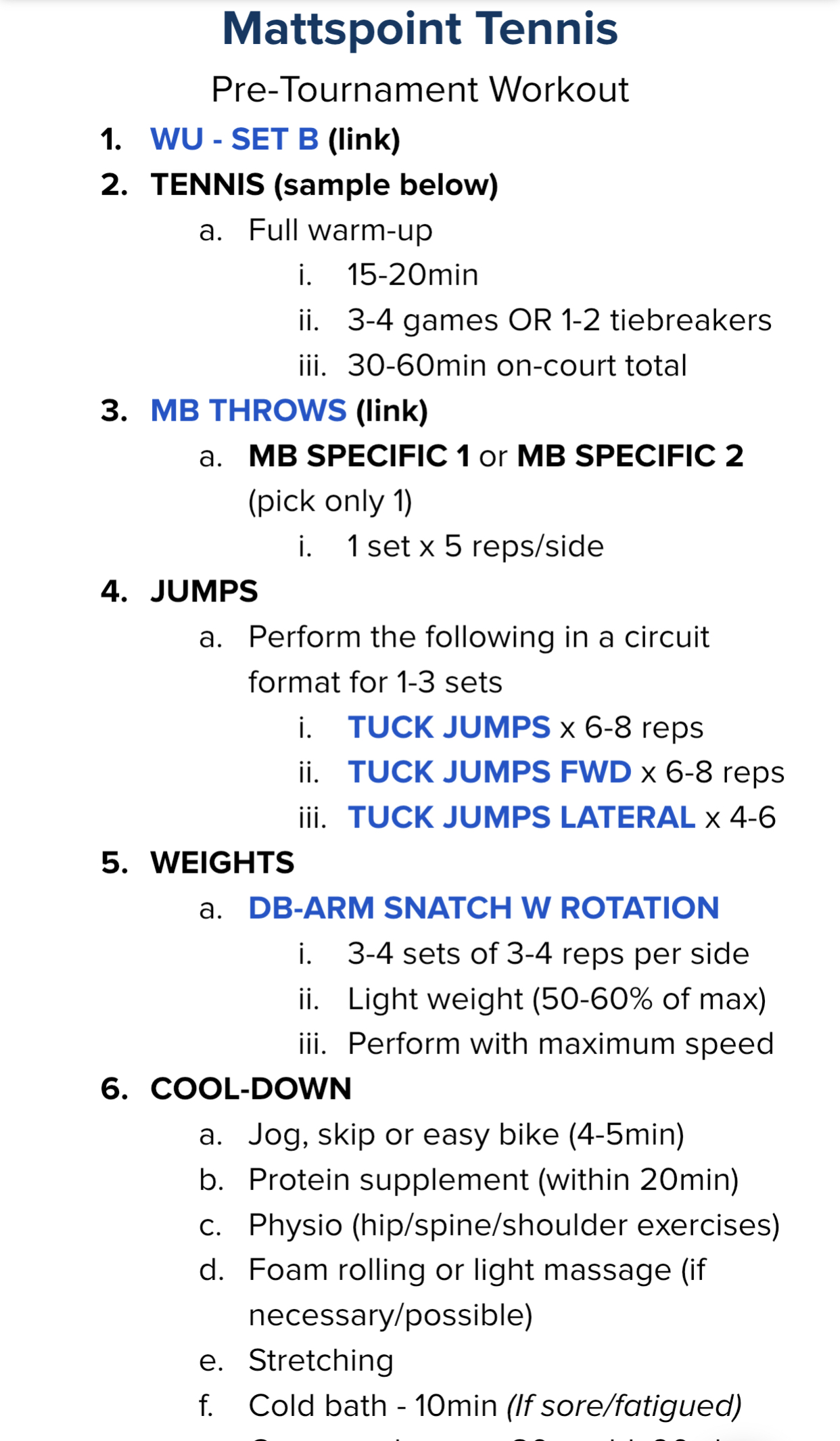 Sample pre-tournament workout.