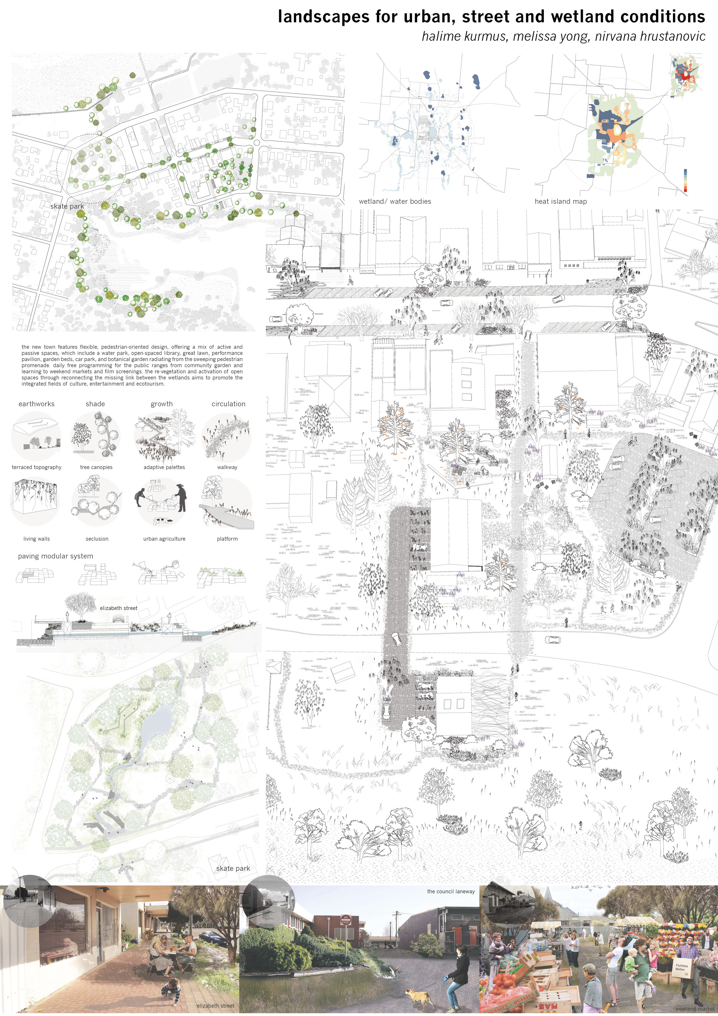 Water sensitive urban design using porous materials links the main street,public spaces and cross programmed market/car park facilities with the regenerated wetland to the south.