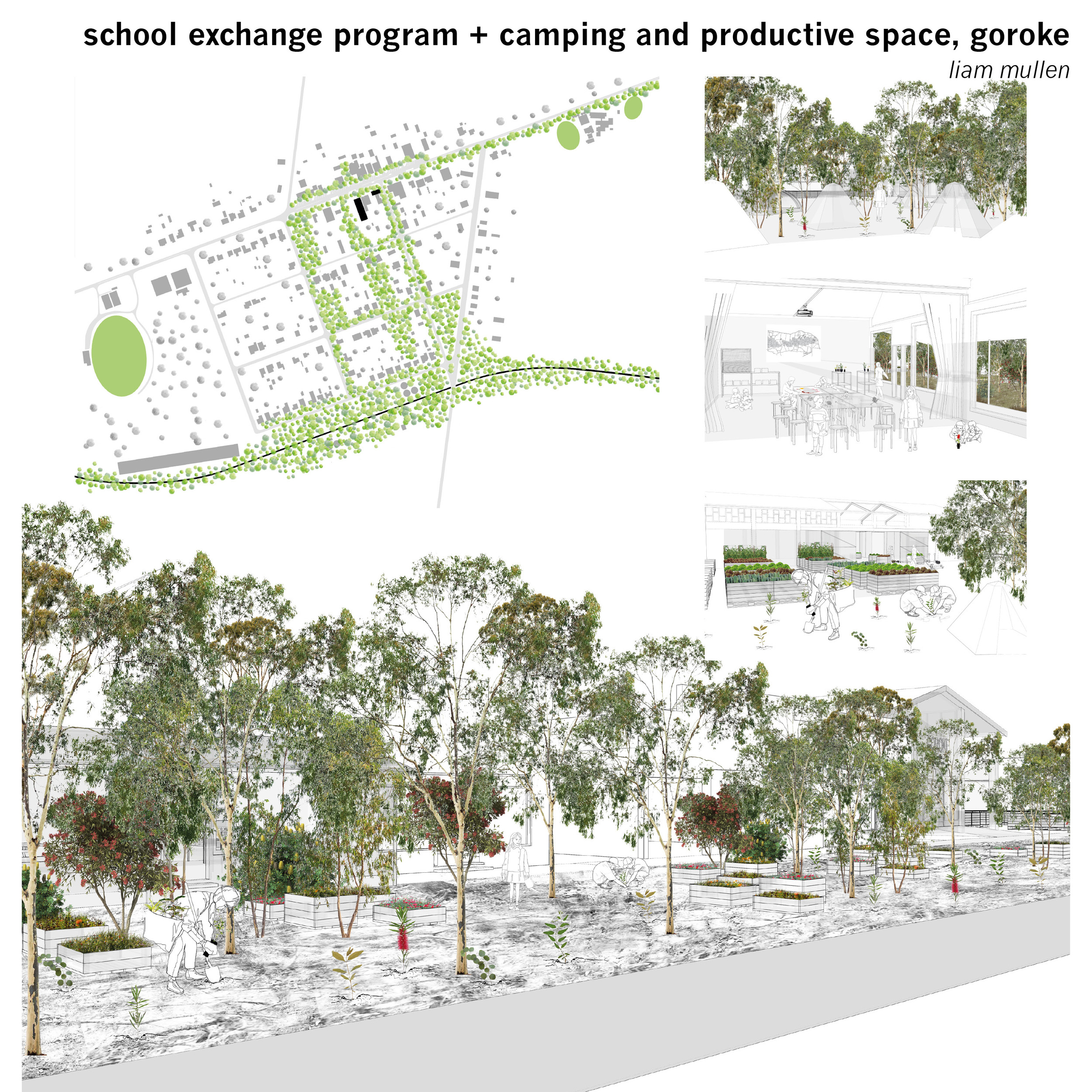 Goroke P-12 College operates a student exchange program with Melbourne (and other urban) school partners with a focus on an agricultural and environmental curriculum,the town itself becomes an expanded classroom of propagation and regenerative spaces.