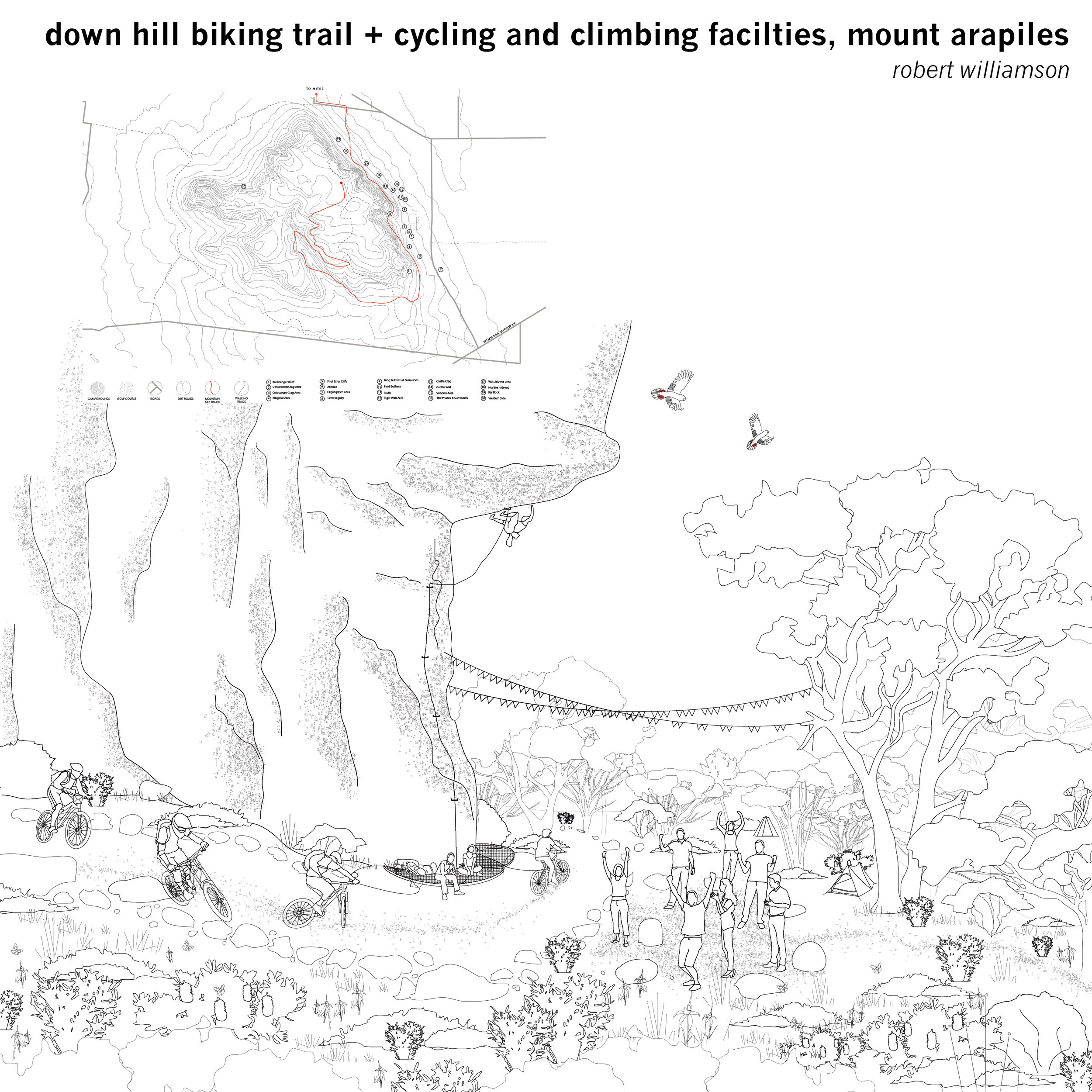 A downhill cycling trail looks to add to the popularity of Mount Arapiles with outdoor activity user groups, defining a new trail which also organises the existing climbing access pathways to help regenerate the compromised environment at the base of the mountain.