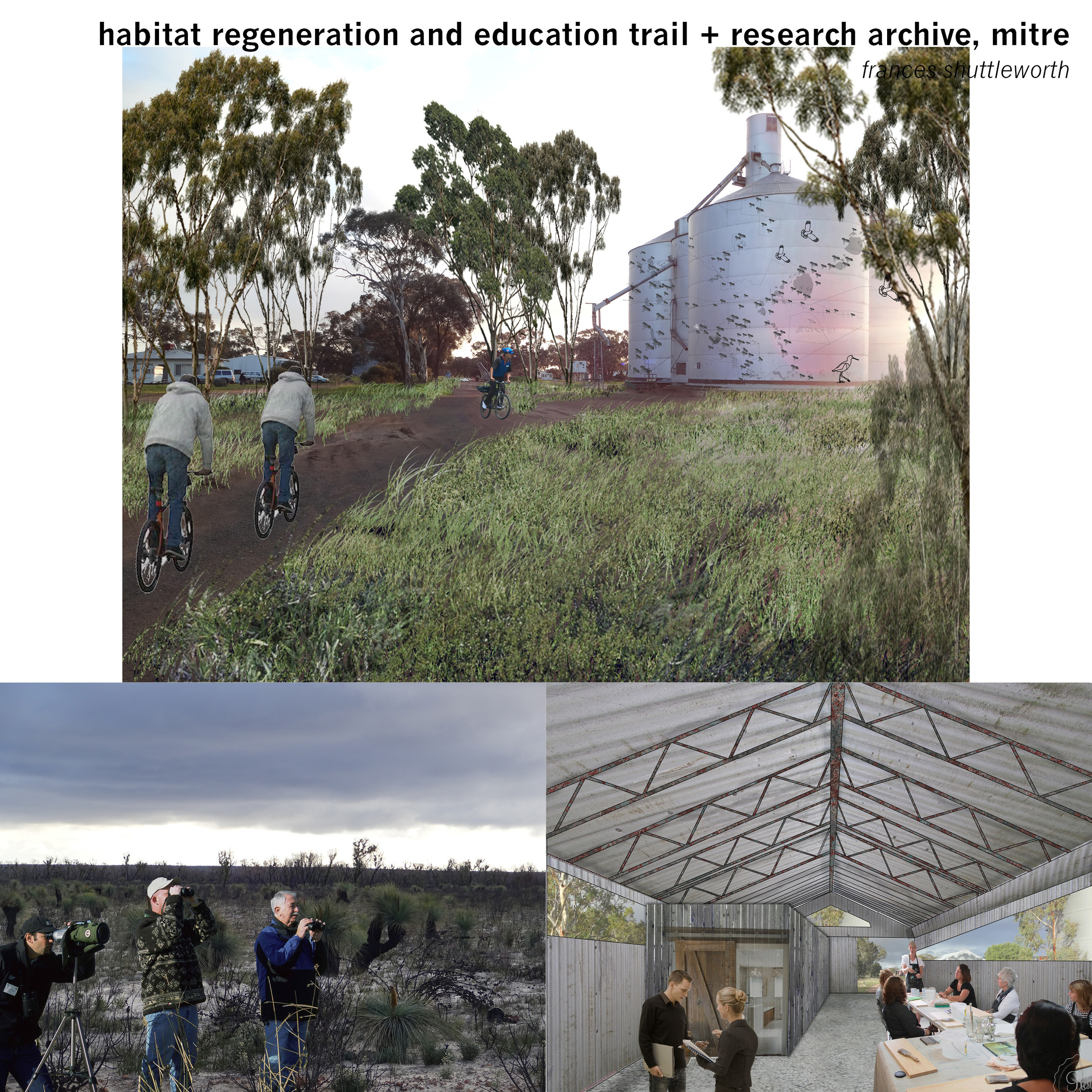 The shed in Mitre is converted into a research outpost for ornithological and environmental organisations conducting fieldwork and assessments in the Wimmera region, researchers and tourists contribute their own photographs and observations to an archive which is digitally projected onto the silos in a constantly evolving exhibition.