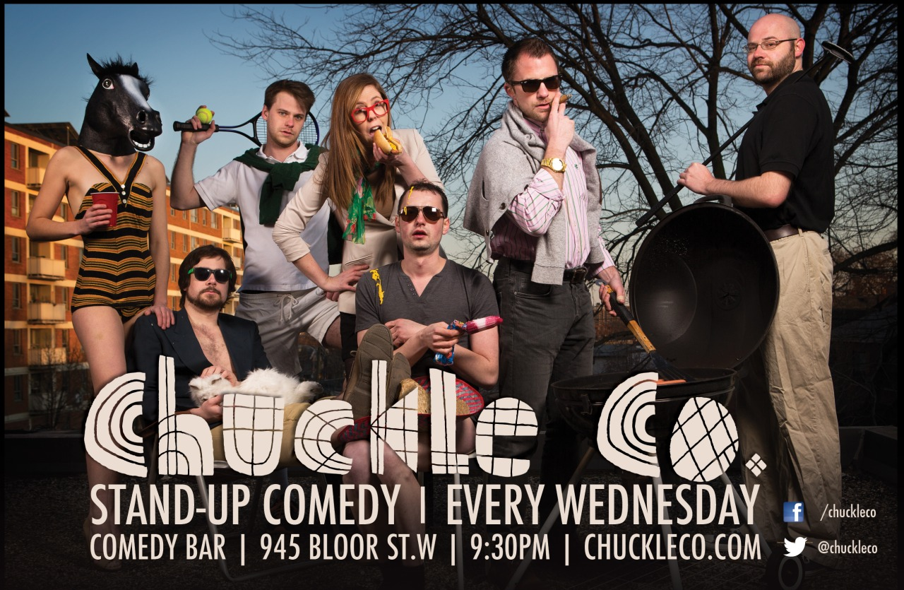Poster for comedy group Chuckle Co. Photo by Jon Sturge.