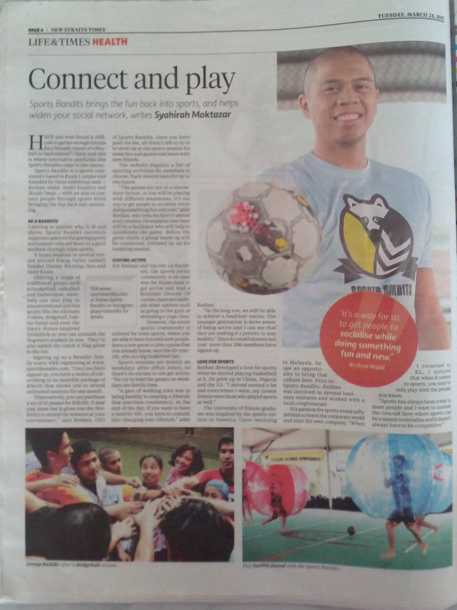 Feature in 'Life & Times Health' section of The New Straits Times