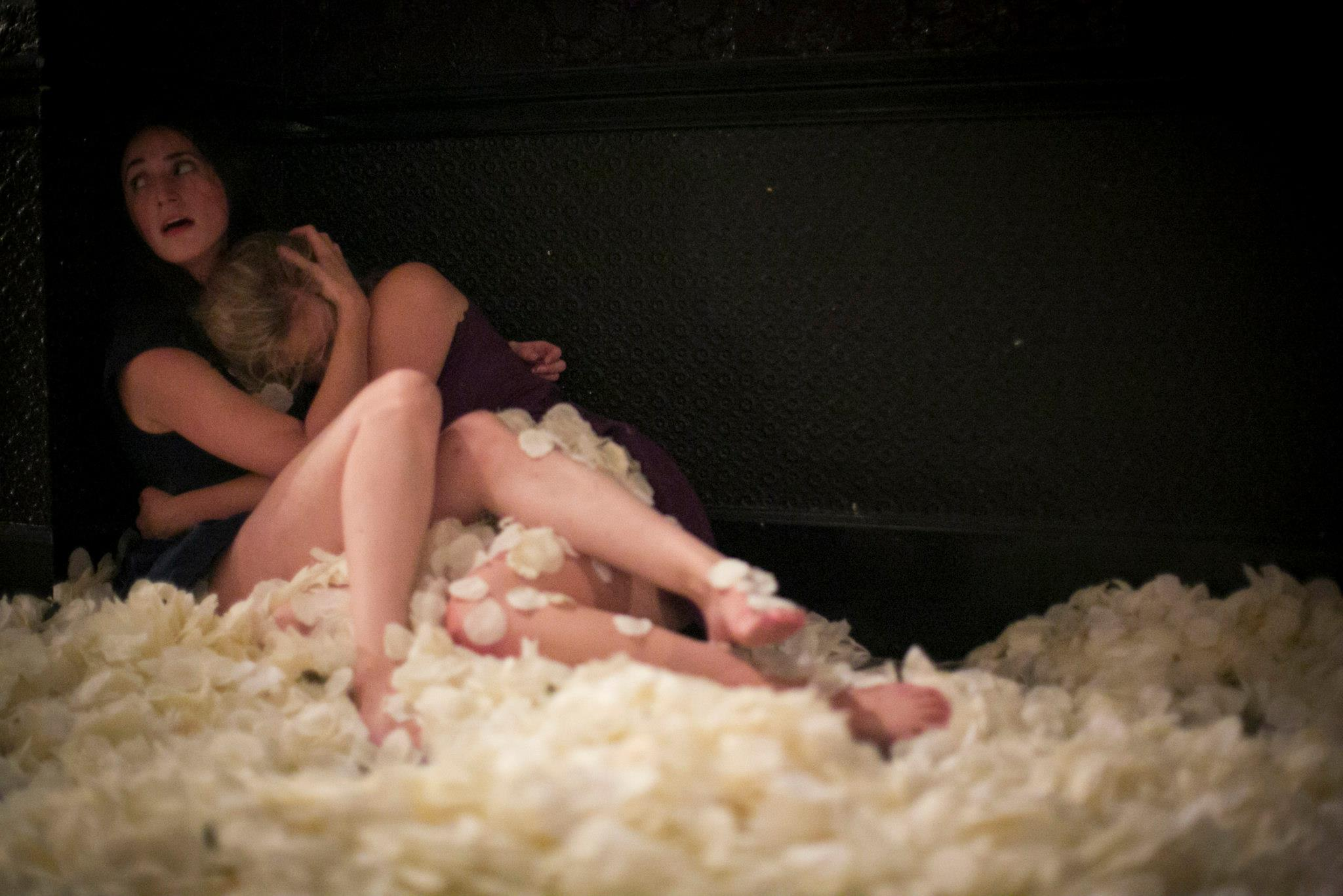 Danielle Russo and Lauren Muraski in  That one should open like an eyelid and lying there beneath it simply eyelids  at the Ace Hotel. Photograph by Whitney Browne, 2012.