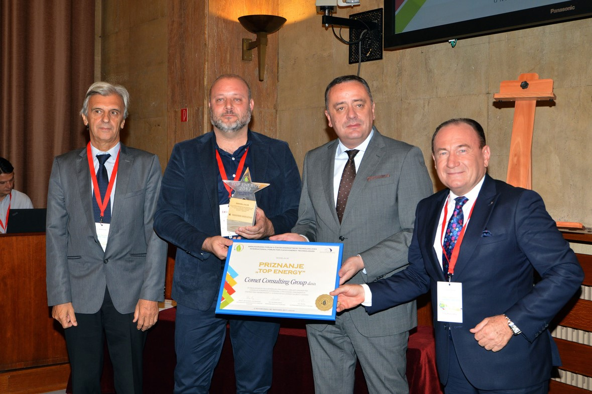 Mr. Ljubo Maćić, Pres.-Serbian Council of Energy, Goran Lazić,Gen.Mgr.-Comet Consulting Group, Mr. Aleksandar Antić,Minister-Serbian Mining and Energy Ministry, Mr. Tihomir Simic´ Phd. Chrm.- International Forum for Clean Energy Technologies.