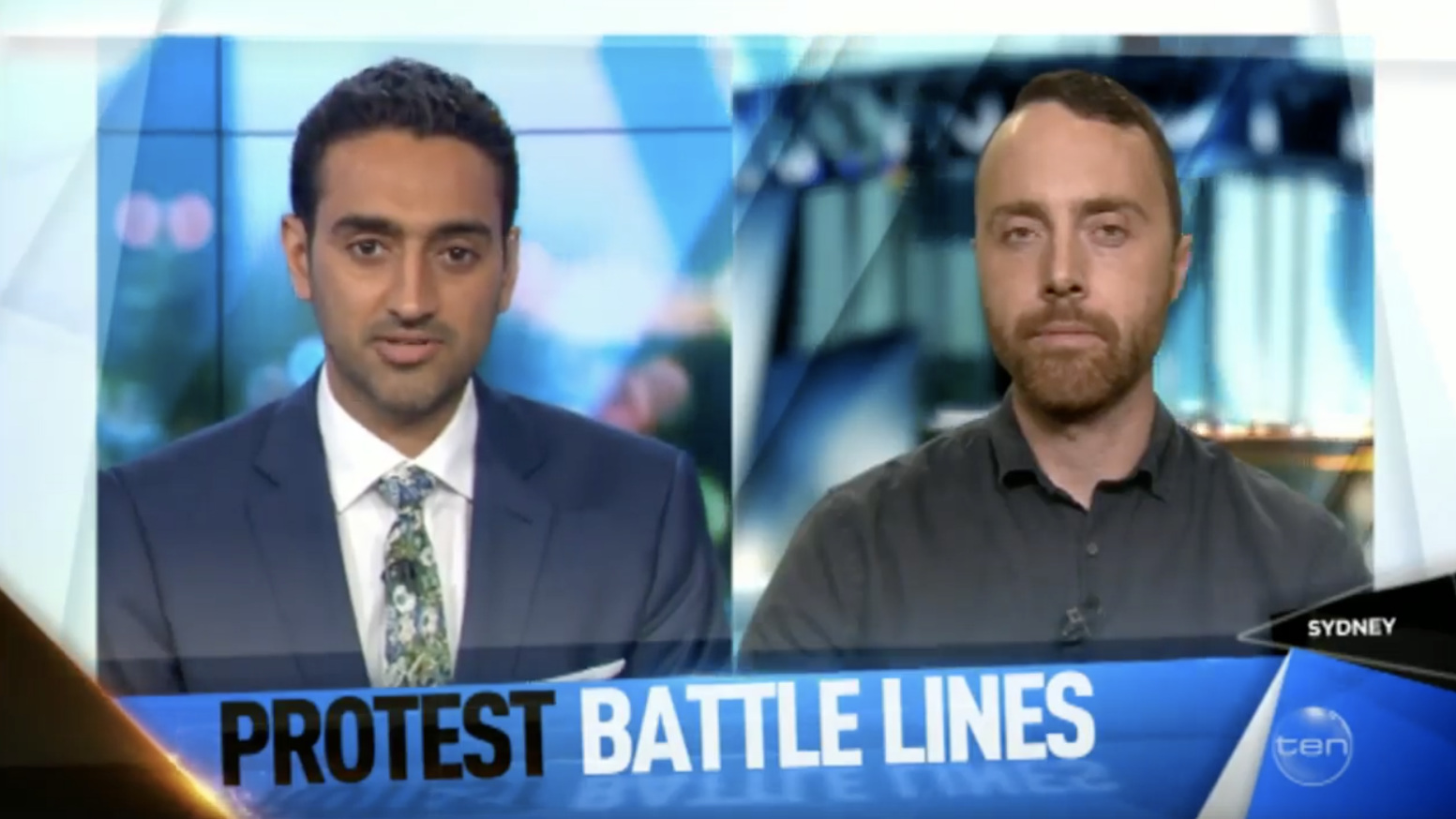 James Fry on Channel Ten's The Project TV discussing extremism with Waleed Aly Credit: Channel Ten