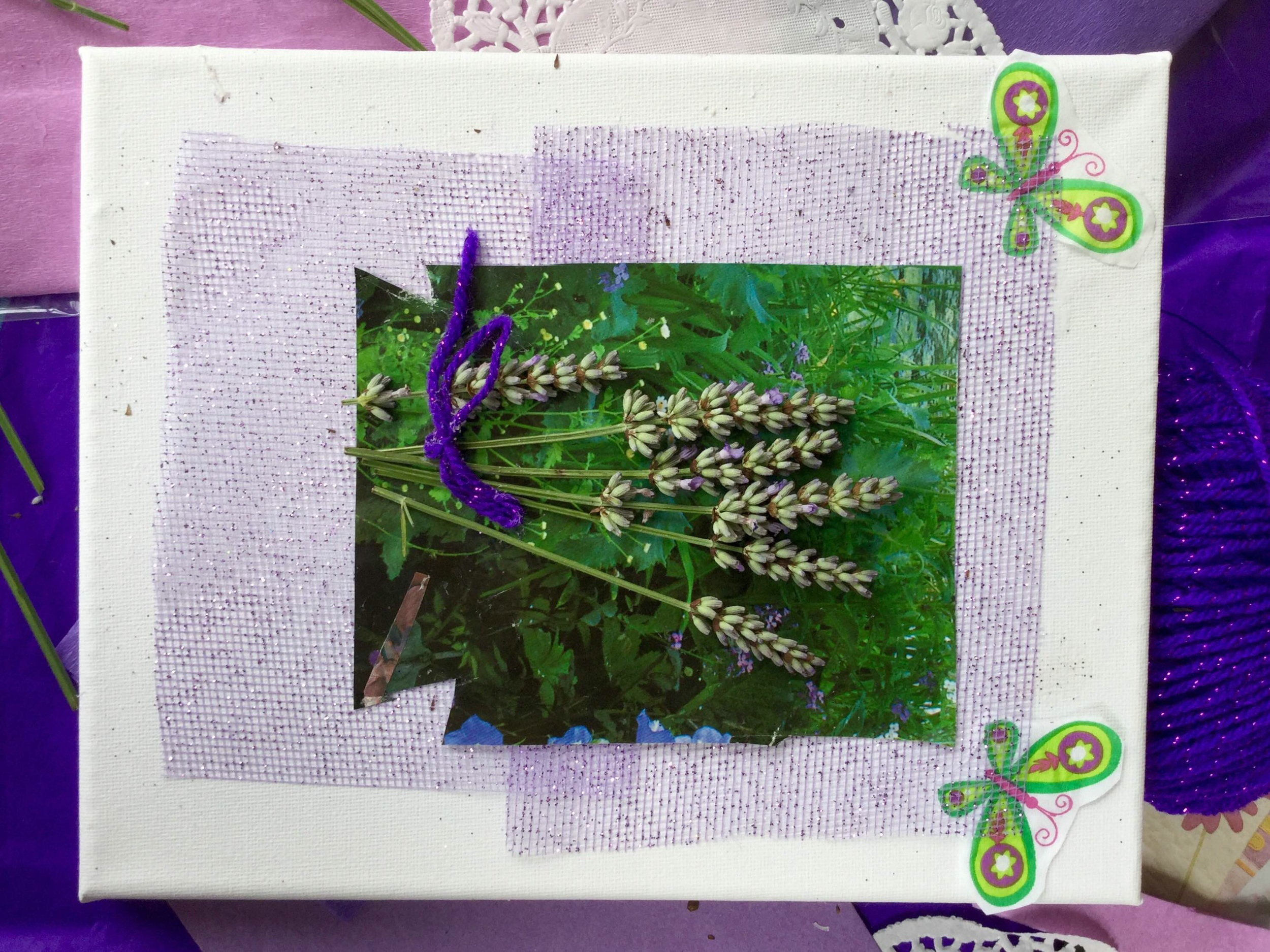 Lavender Collage made at Newlands of Stow Care Home