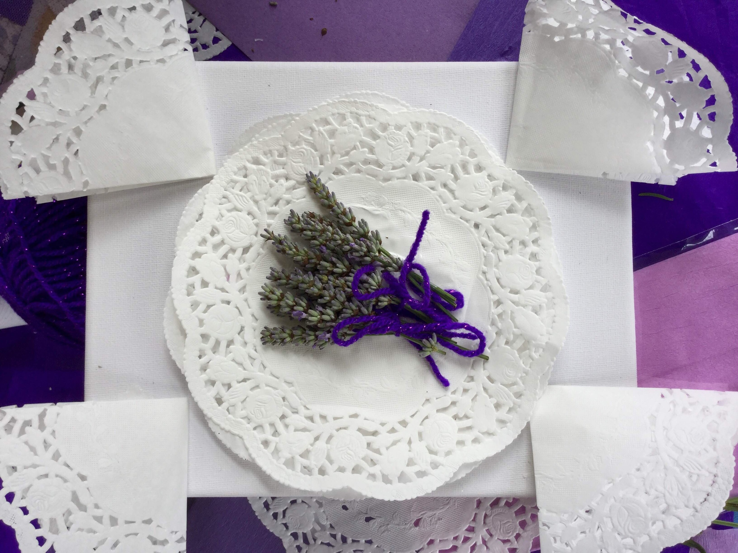 This lavender collage is full of textures - It was made by a wonderful old lady who is blind