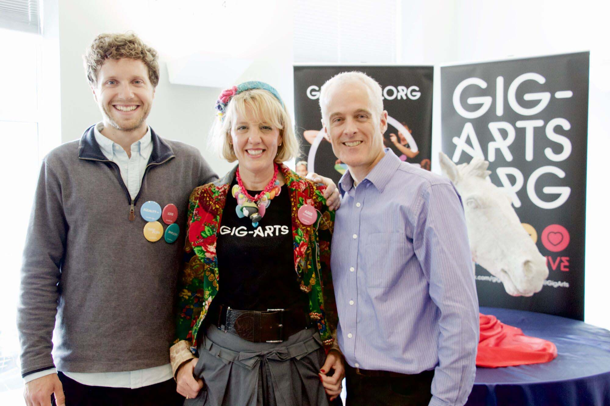 (Left to right) The Gig-Arts Team - Jem Tyer, Abbie Cooke and Rex Boyd