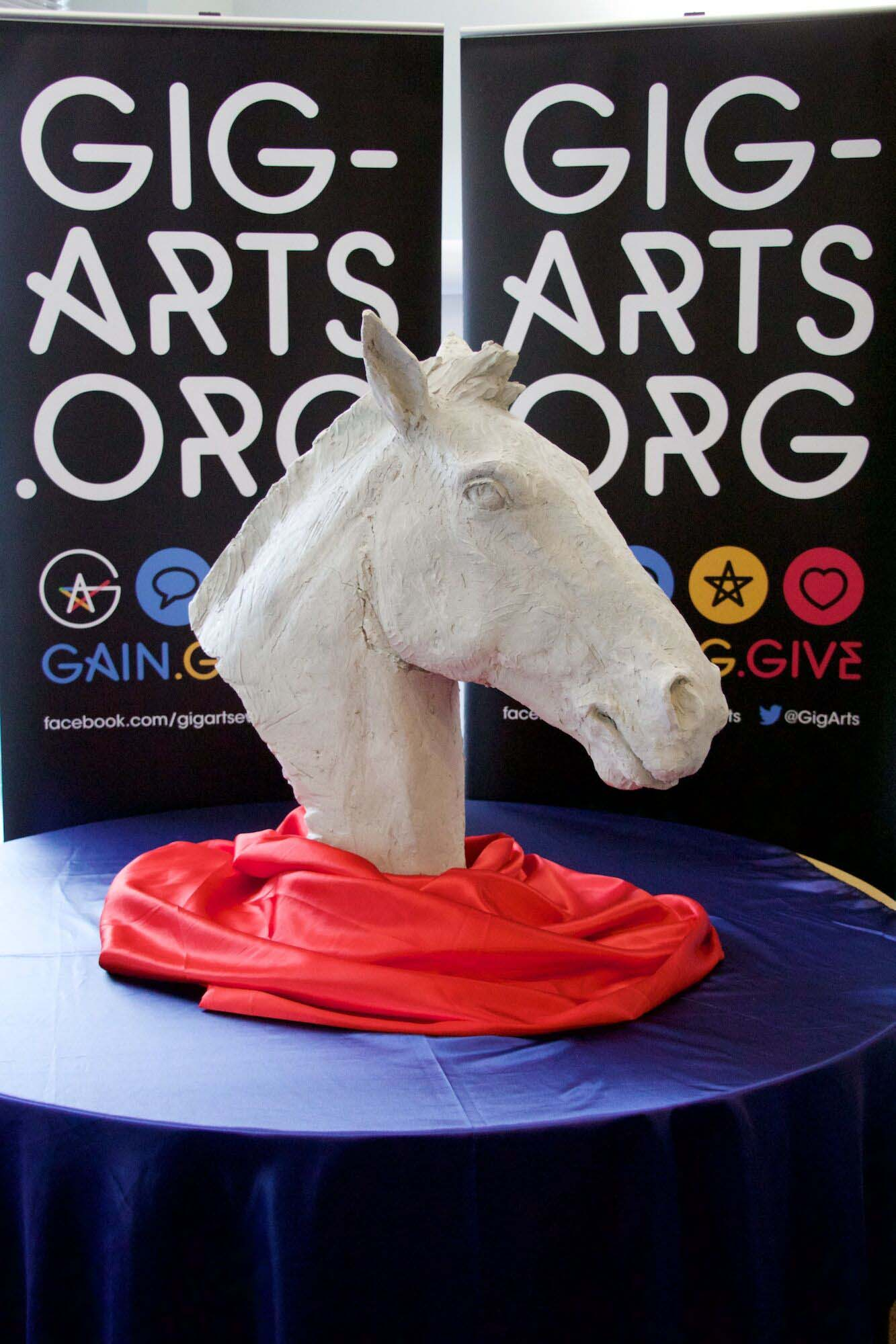 The Gig-Arts Banbury Horse Head displayed at Bloxham Mill Business Centre