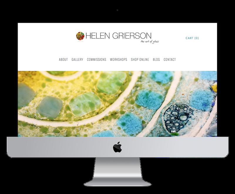 Squarespace web design for glass artist
