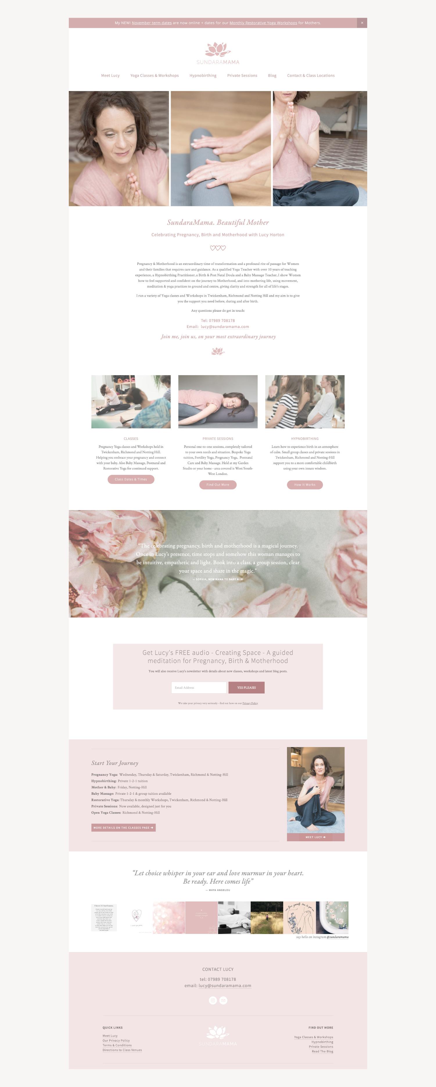 Website design for Yoga Teacher Lucy Horton - Sundaramama