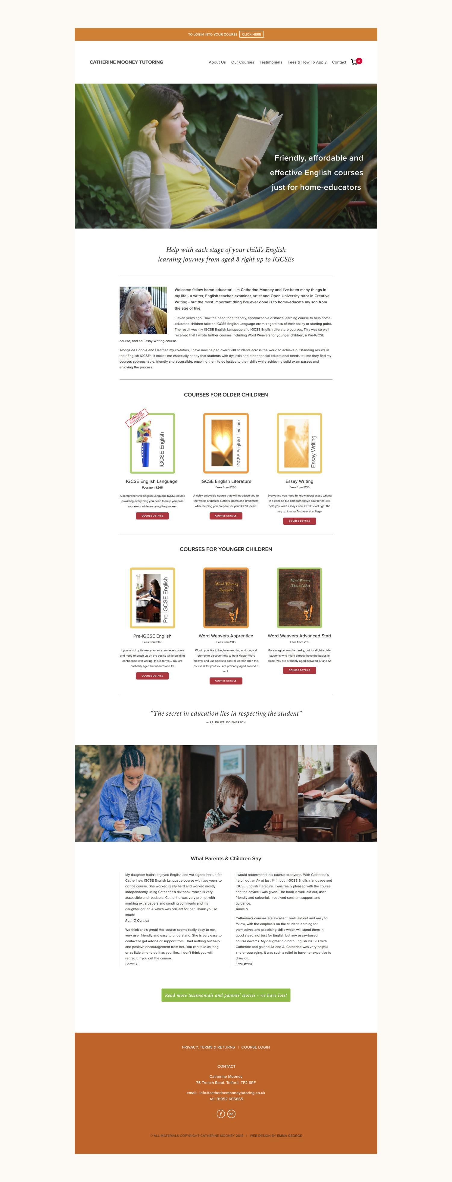 Squarespace website design for online English tutor Catherine Mooney