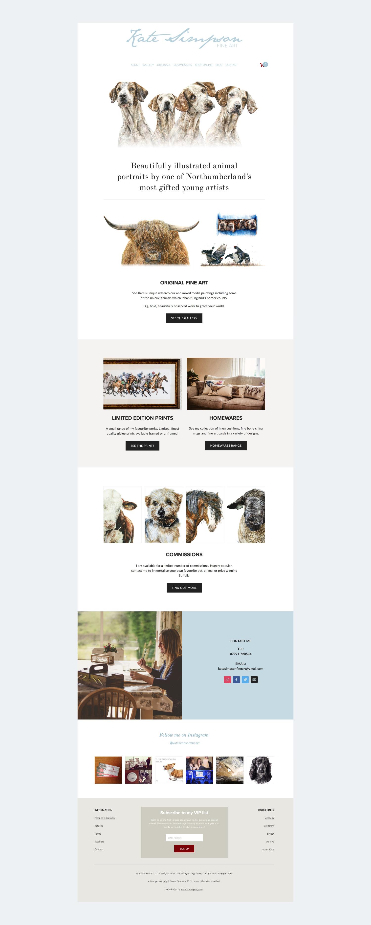 Website design for fine artist Kate Simpson