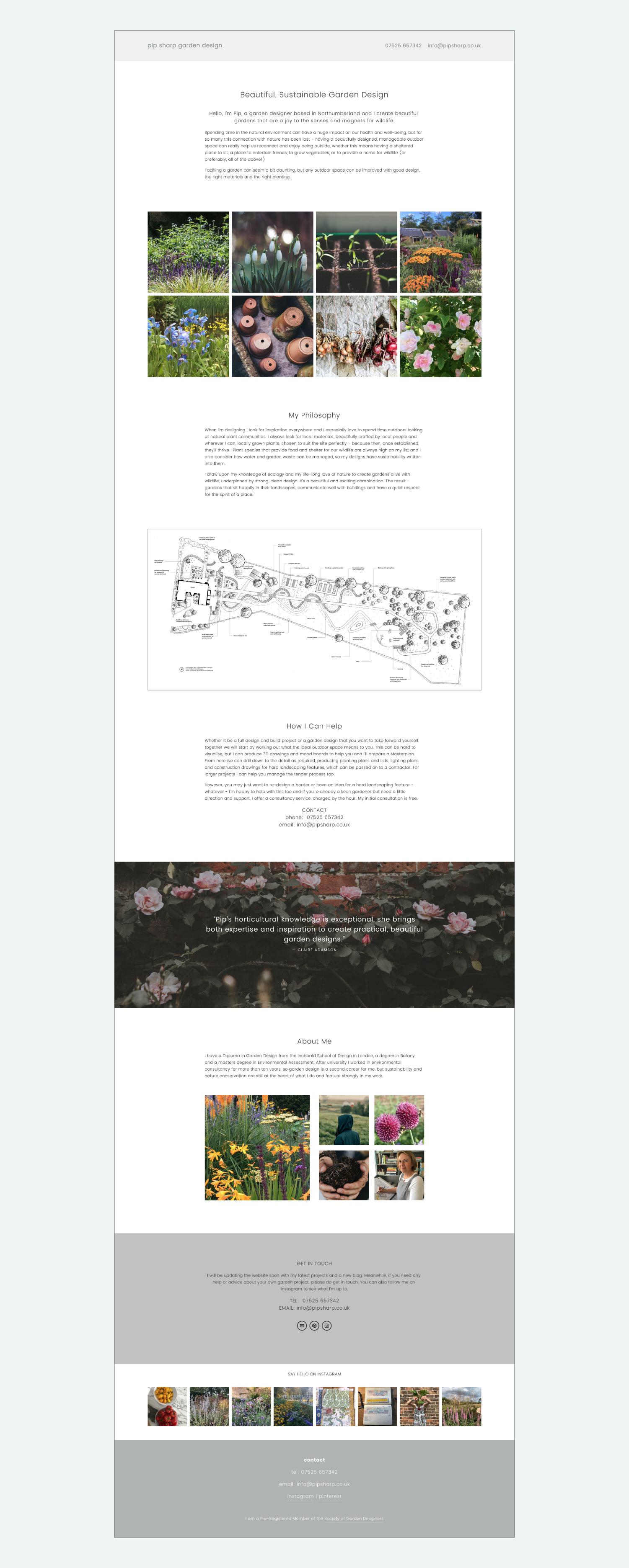 Squarespace website design for Garden Designer