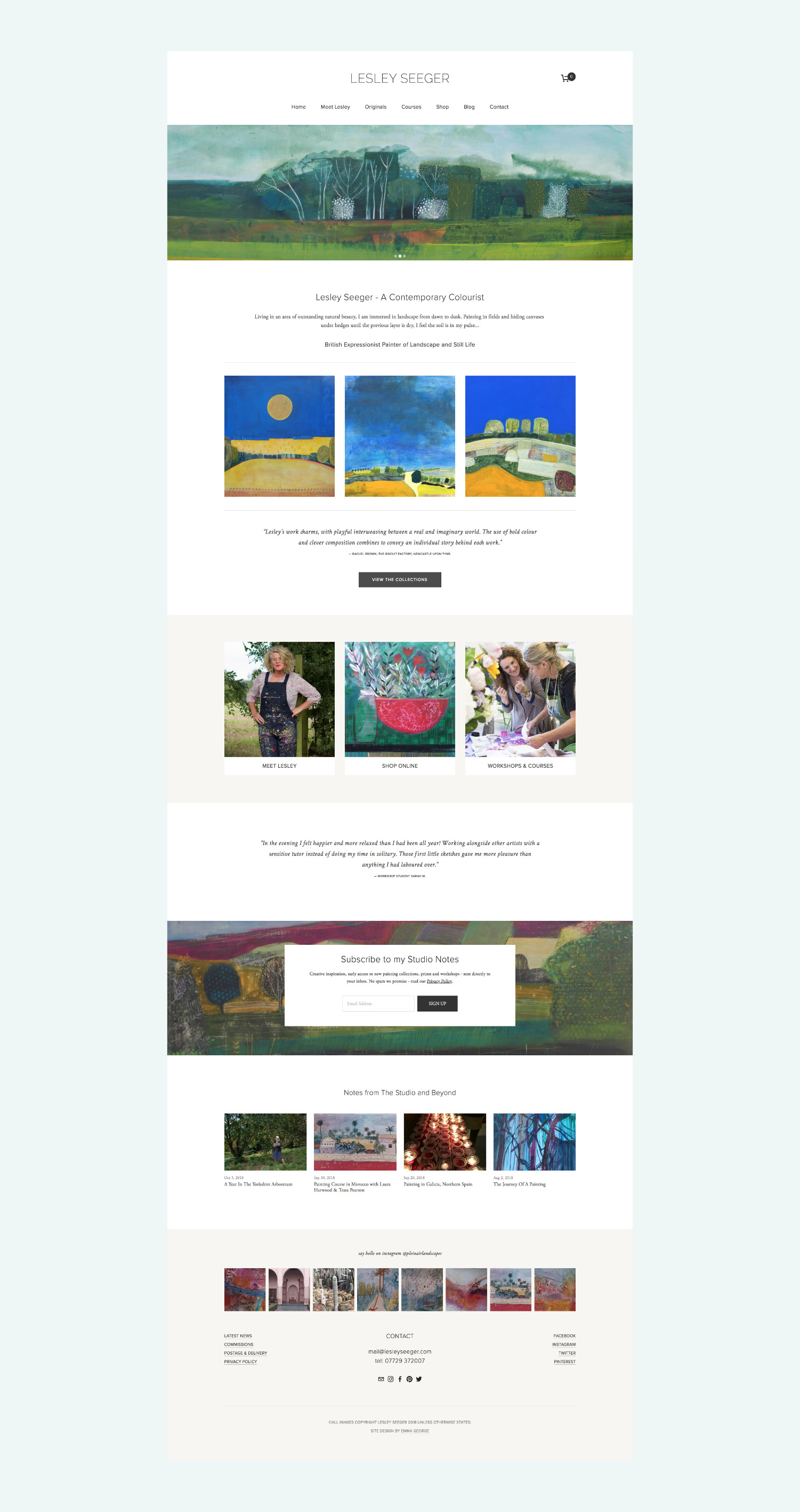 Squarespace website & online shop for fine artist Lesley Seeger
