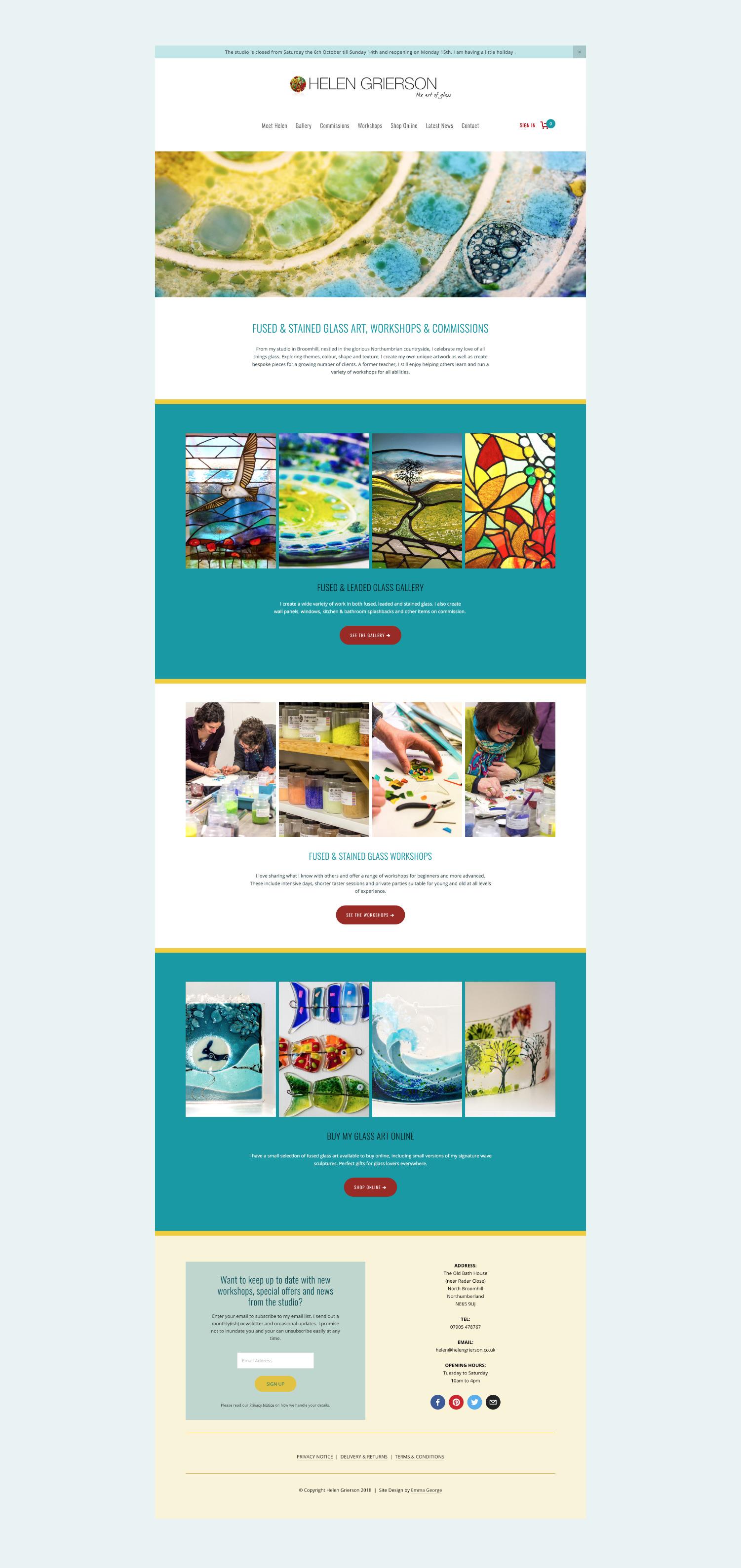 Squarespace website for glass artist Helen Grierson