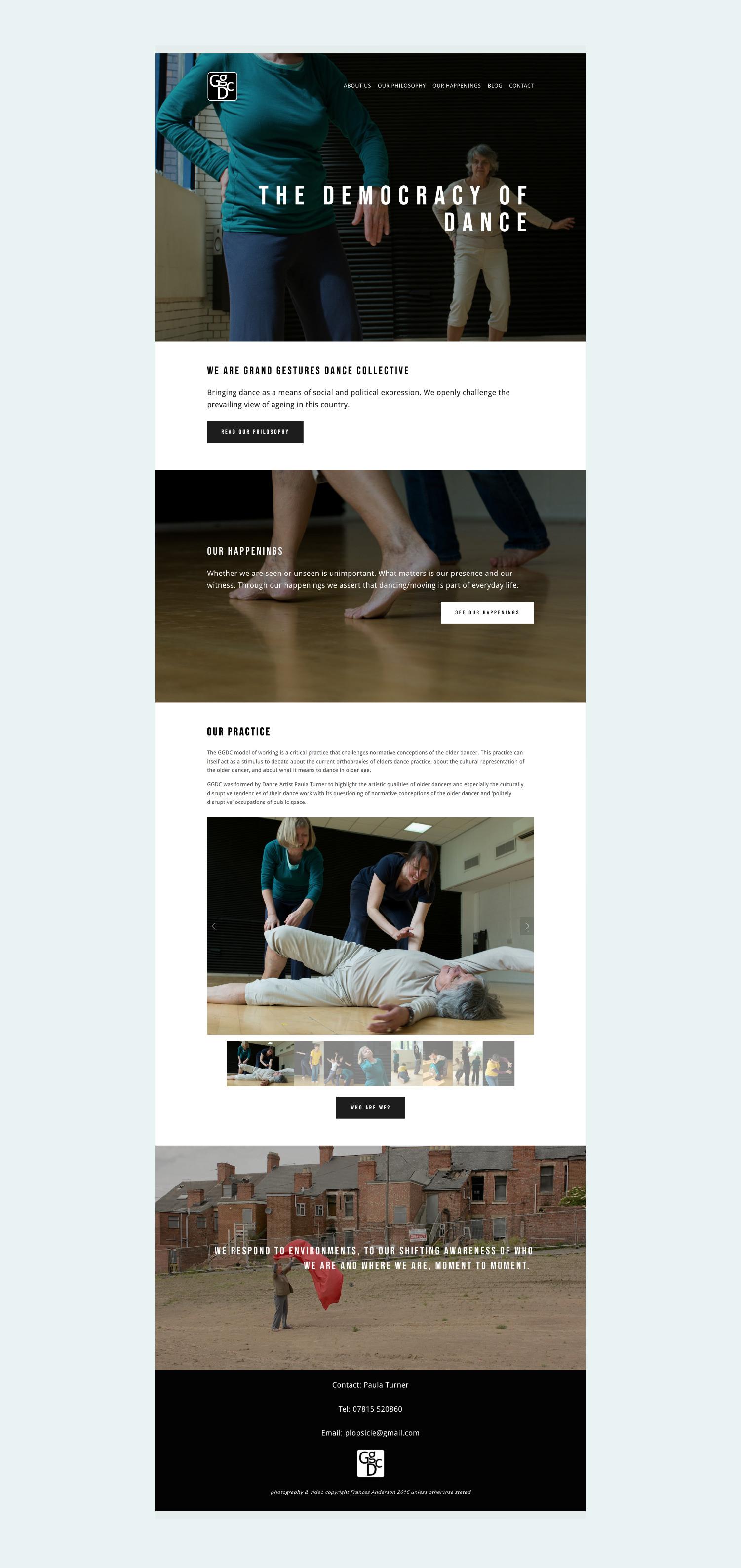 Squarespace website for contemporary dance group