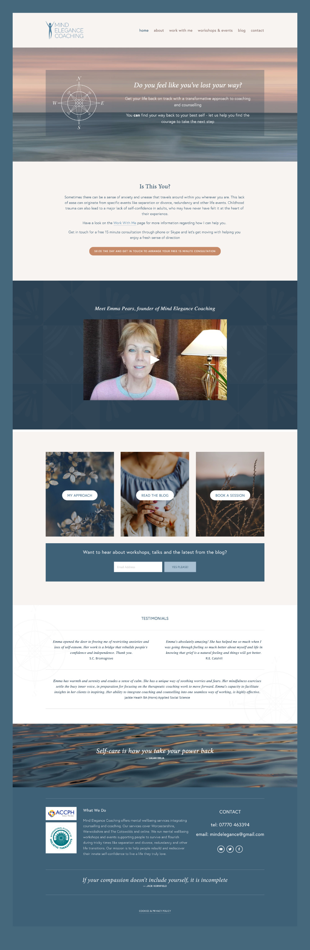 web design for counsellor and coach