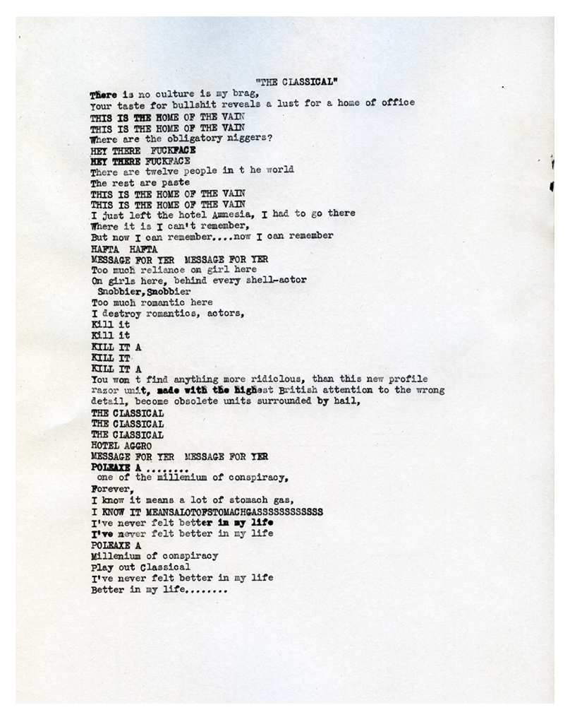 Lyrics to 'The Classical' by The Fall