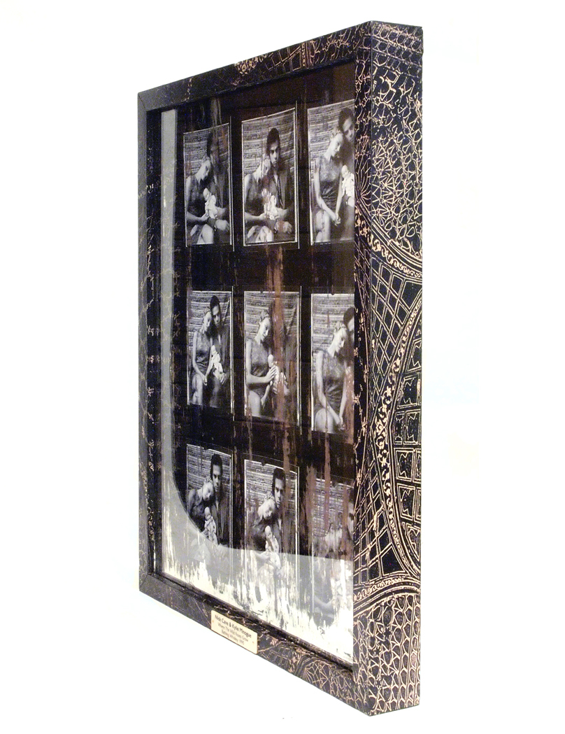 Nick Cave & Kylie Minogue 'Where the Wild Roses Grow' Nine Giclee Prints mounted on Black Velvet in an Image Transfer Box Frame with a Distressed Mirror and Ivorine Name Plaque