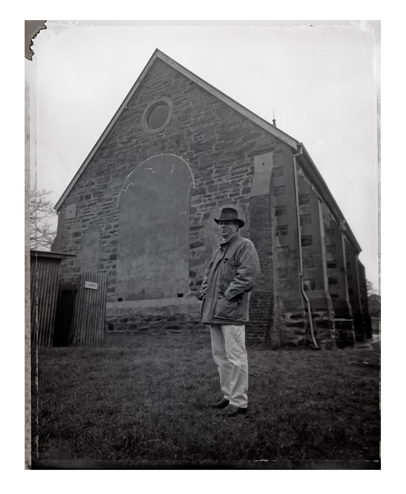 Tim Storrier and I photograph a homage of the painting by Russell Drysdale of Donald Friend