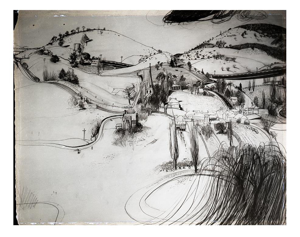 Brett Whitley's Charcoal Sketch of Carcoar